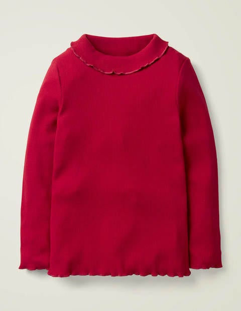 Ruffle Roll Neck T-Shirt - Rockabilly Red