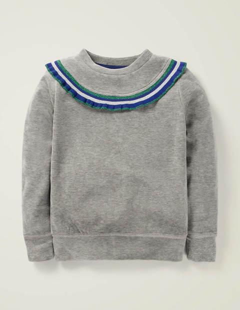 Ruffle Neck Velour Sweatshirt - Grey Marl