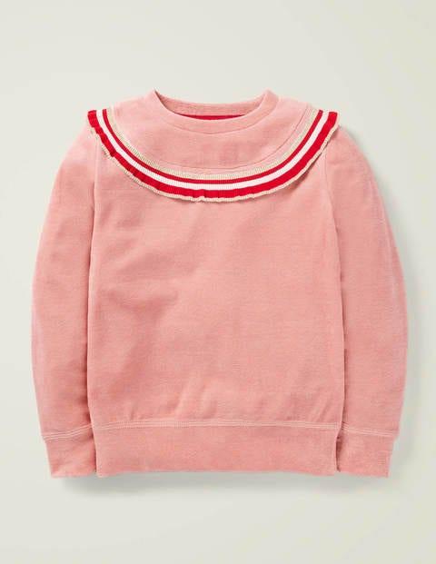 Ruffle Neck Velour Sweatshirt - Dusky Rose