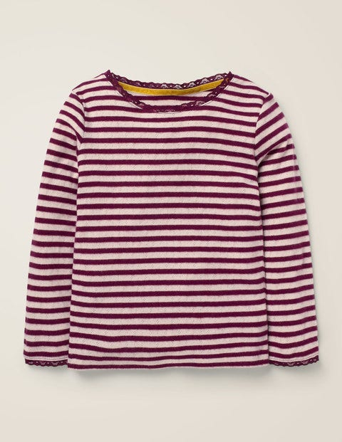 Sparkly Pointelle T-Shirt - Beetroot Purple/Gold Lurex