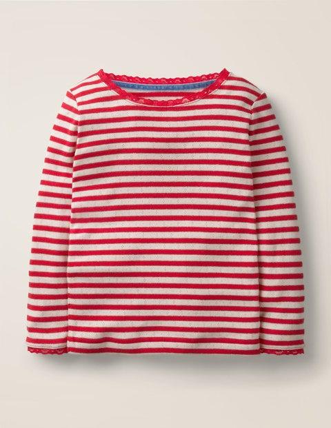 Sparkly Pointelle T-Shirt - Rockabilly Red/Gold Lurex