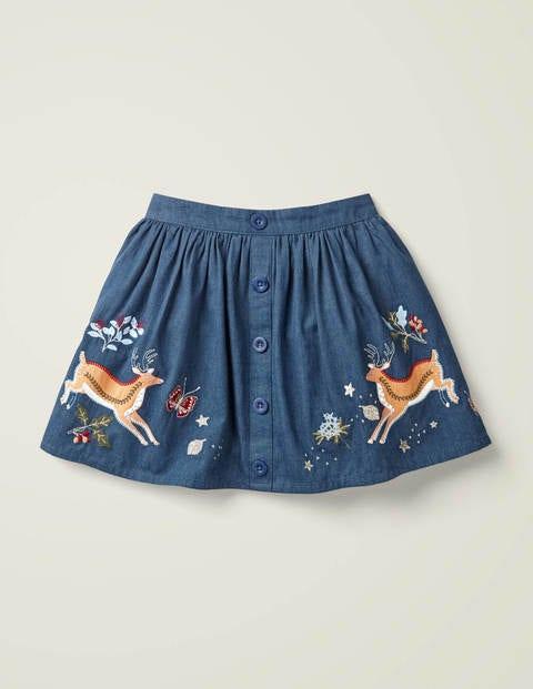 Button-Front Applique Skirt - Denim Blue Deer