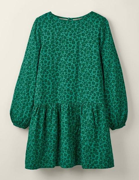 Ruffle Woven Dress - Hike Green Leopard Spot