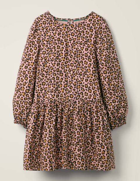 Ruffle Woven Dress - Chalky Pink Leopard Spot