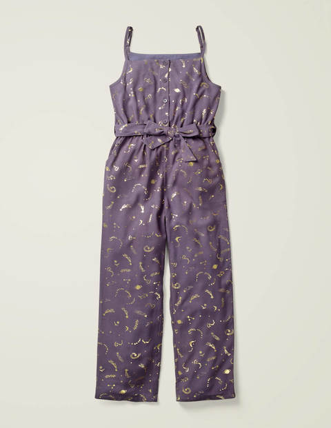 Lined Relaxed Woven Jumpsuit - Misty Purple Celestial