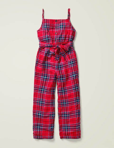 Lined Relaxed Woven Jumpsuit - Rockabilly Red Check