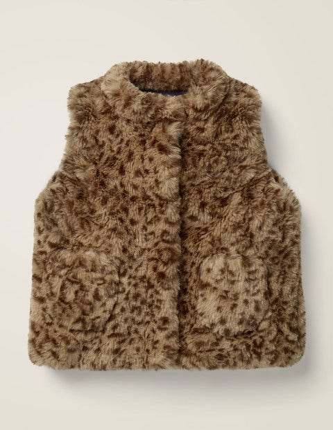 Leopard Gilet - Soft Truffle Brown Leopard