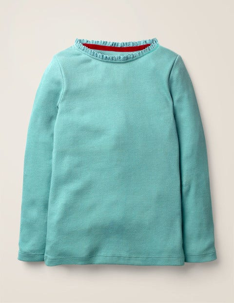 Lace Trim Ribbed T-Shirt - Mineral Green