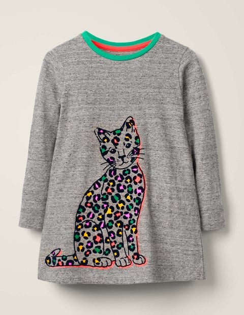 Flocked Pets Tunic - Grey Marl Cat