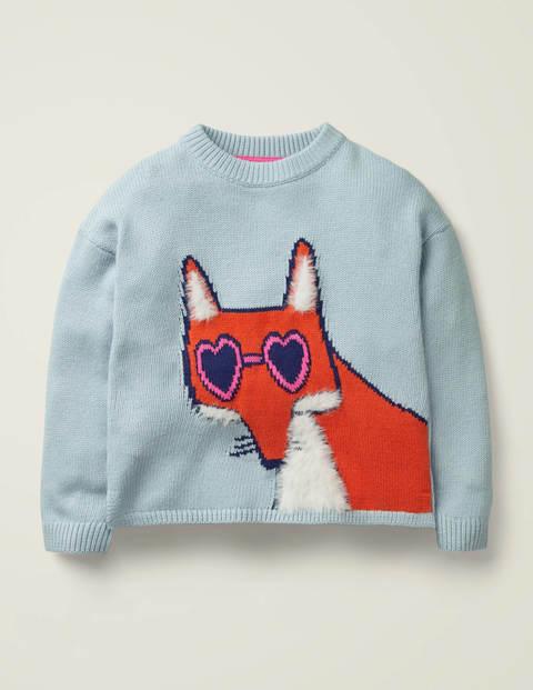 Pullover Mit Lustigen Tieren - Wolkenblau, Fuchs