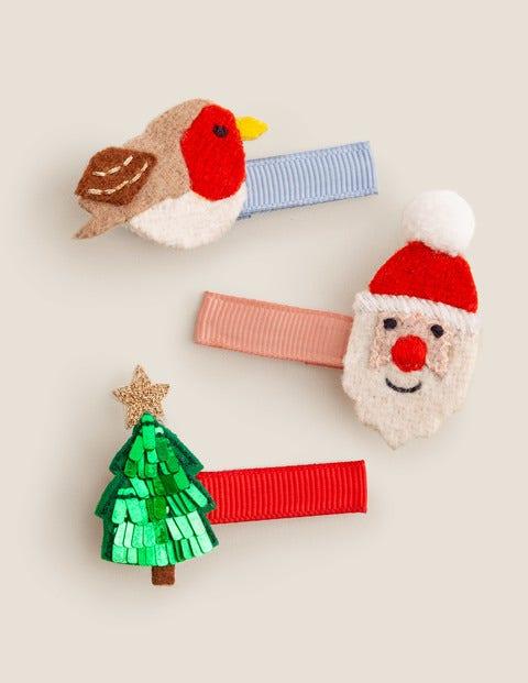 3 Pack Hair Clips - Jolly Christmas