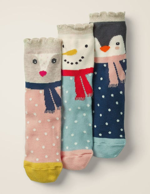 3 Pack Festive Socks - Cosy Animals