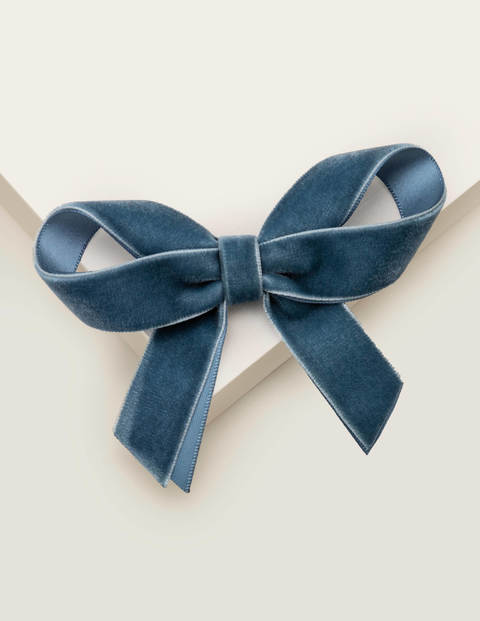 Velvet Bow Hair Clip - Whisper Blue