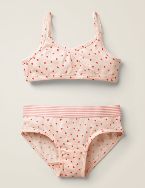 Printed Crop Top And Pants Set - Parisian Pink Hearts