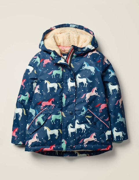 Sherpa-Lined Anorak - College Navy Unicorns