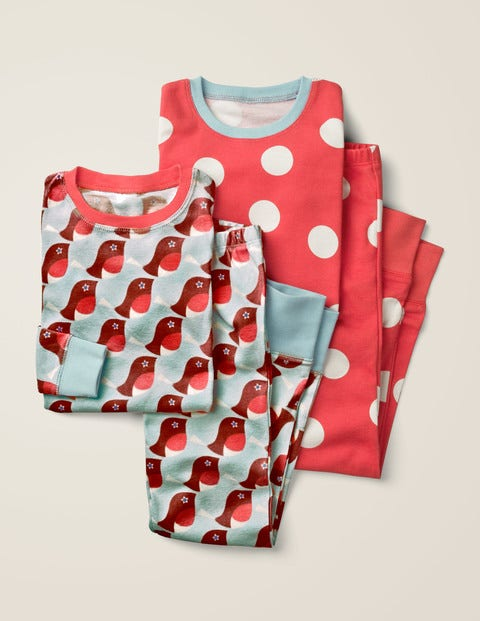 2 Pyjamas Longs - Rouge-gorge bleu averse/pois rouges