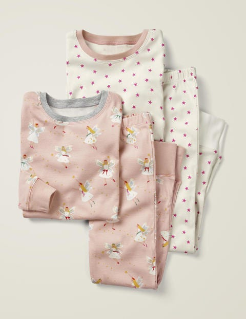 Twin Pack Long John Pajamas - Pink Festive Fairies/Stars
