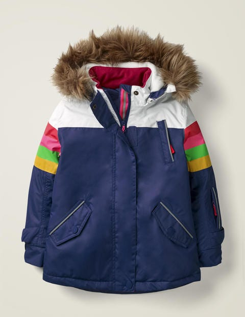 All-Weather Waterproof Jacket - Starboard Blue/Rainbow Stripe