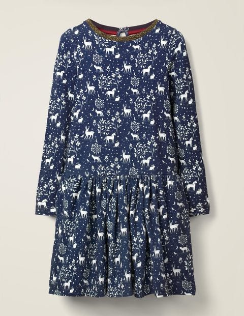 Printed Jersey Dress - College Blue Magical Toile