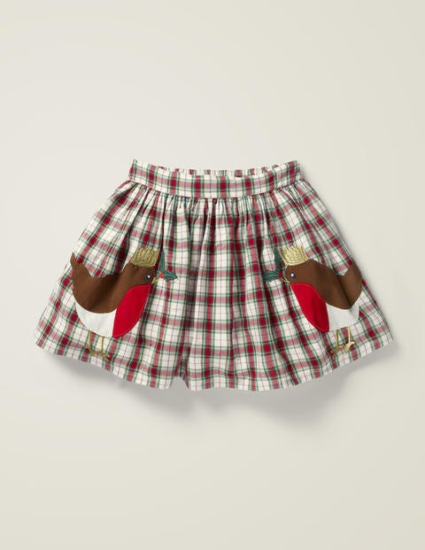 Festive Check Skirt - Rockabilly Red Check/Robins