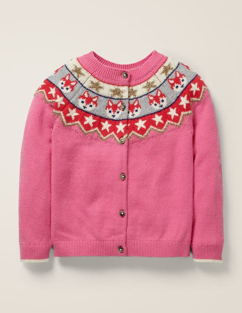 Cosy Fair Isle Cardigan - Flamingo Pink Foxes