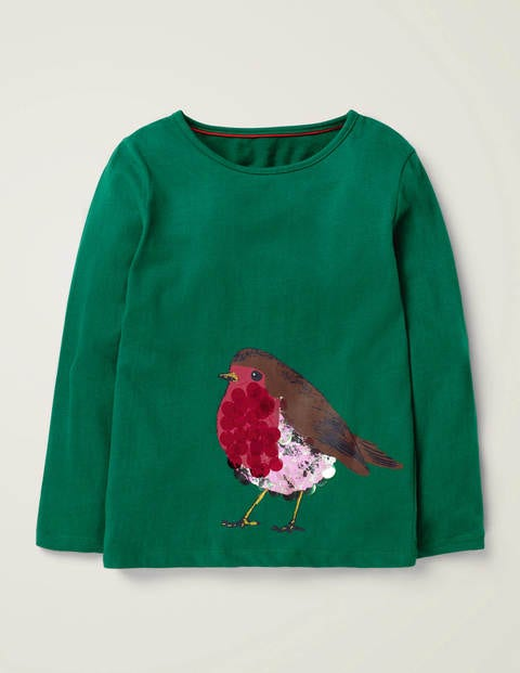 Sparkly Festive Animal T-Shirt - Linden Green Robin