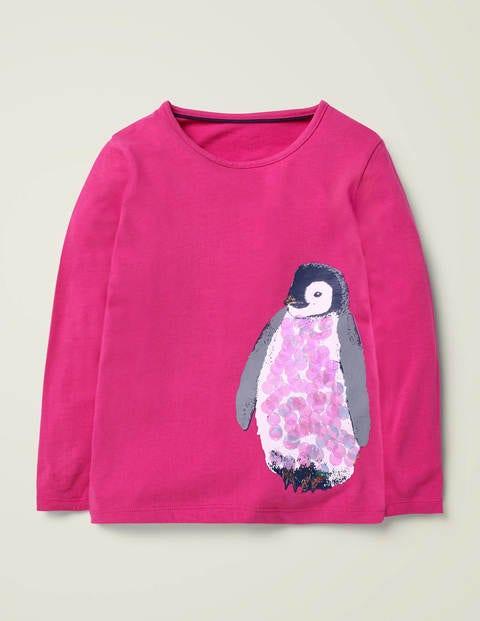 T-shirt festif et étincelant à motif animal - Pingouin rose éclatant