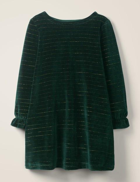Sparkle Stripe Velvet Dress - Emerald Night Green/Gold
