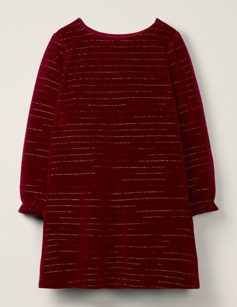 Sparkle Stripe Velvet Dress - Bramble Red/ Gold