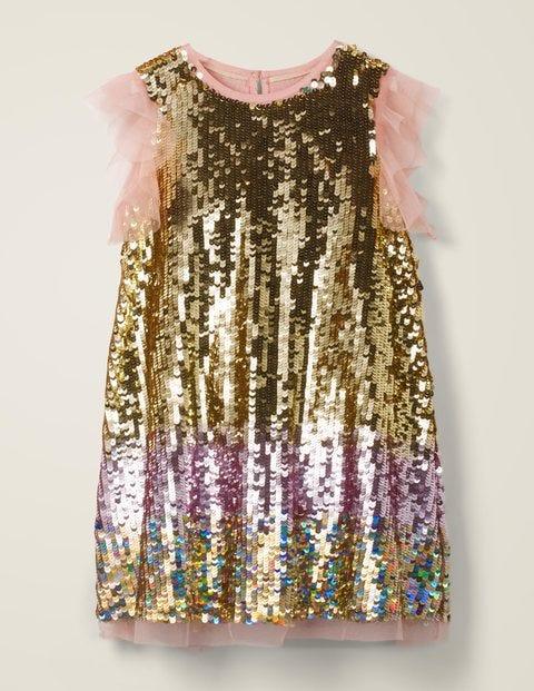 Paillettenkleid mit Flatterärmeln Gold Mädchen Boden, Gold