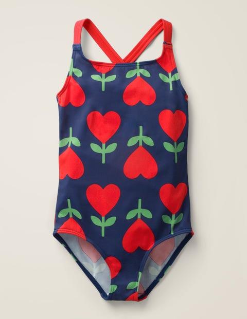 Cross-Back Swimsuit - Deep Sea Blue Heart Flower