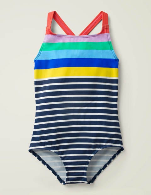 Cross-back Swimsuit - Ivory/Navy Stripe