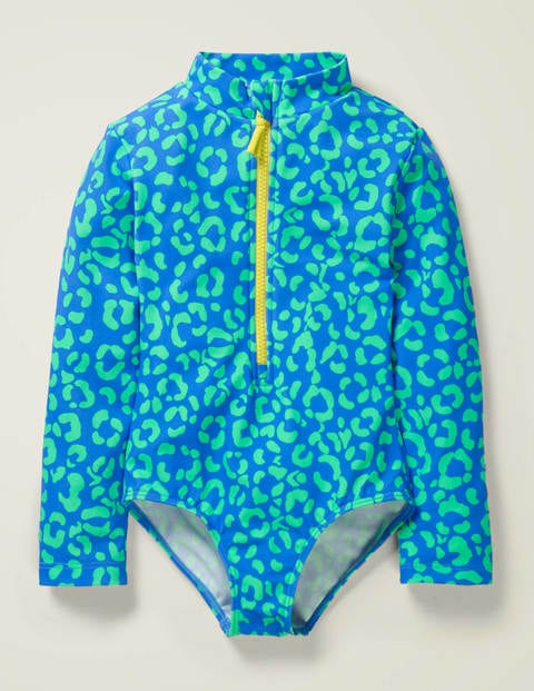 Long-Sleeved Swimsuit - Oasis Blue Leopard Spots