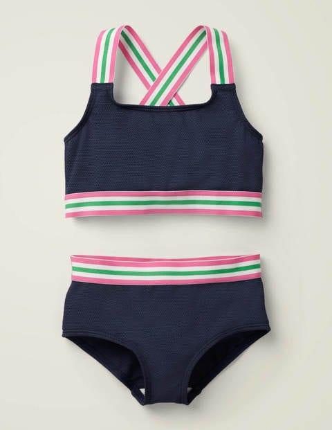 Strukturiertes Bikini-Set - Tiefseeblau