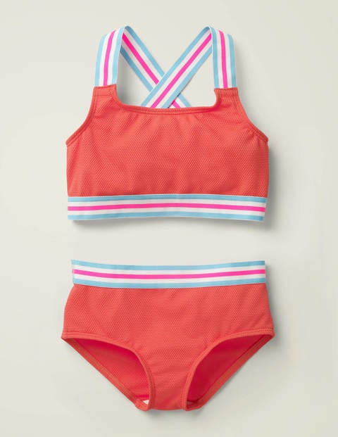 Textured Bikini Set - Sunset Red