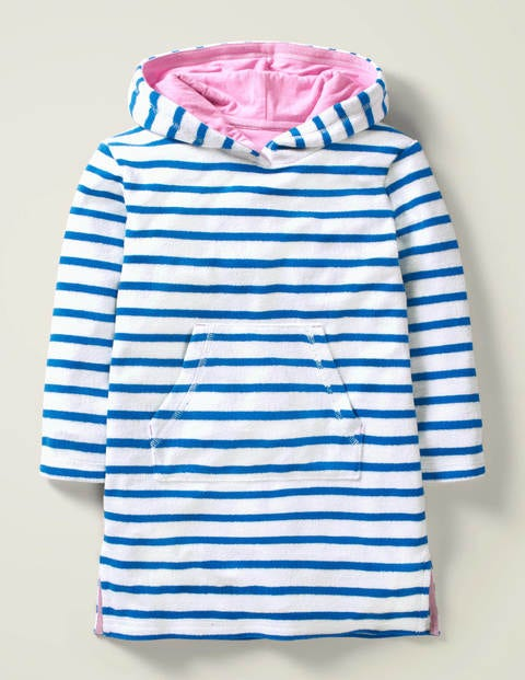 Stripy Towelling Beach Dress - Bold Blue/White