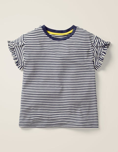 Frill Wrap Sleeve Top - Navy/Ecru Stripe