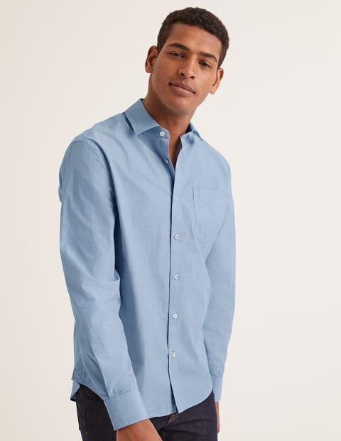 Poplin Cutaway Collar Shirt - Blue End on End
