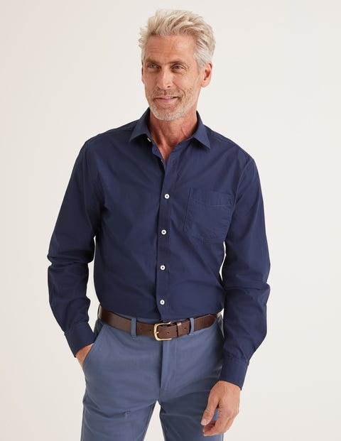 Poplin Cutaway Collar Shirt - Navy