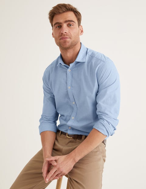 Slim Fit Cutaway Collar Shirt - Blue End on End