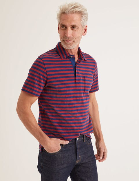 Slub Polo - Navy Blue/Sumac Stripe