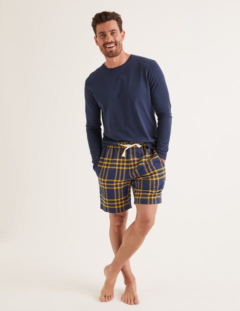 Flannel Pajama Shorts - Navy Blue/Saffron Check