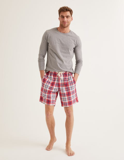 Cotton Poplin Pyjama Shorts - Washed Crimson/Heather Check