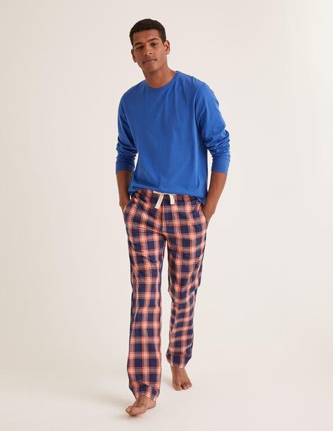 Cotton Poplin Pyjama Bottoms - Tropical Orange Check