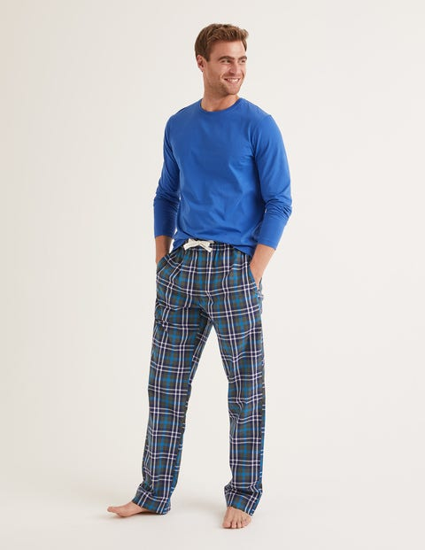 Cotton Poplin Pajama Bottoms - Richmond Green Multi Check
