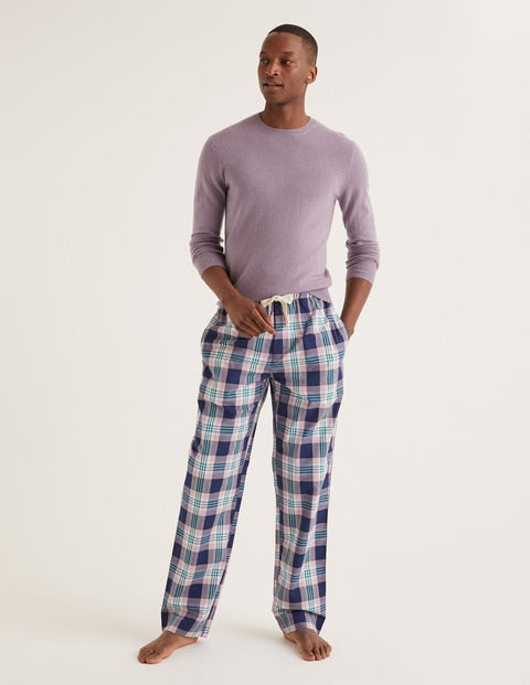 Cotton Poplin Pyjama Bottoms - Pale Plum Multi Check