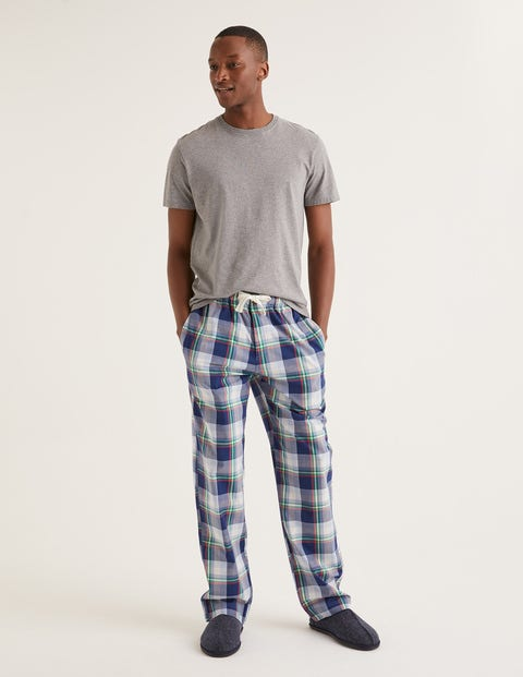 Cotton Poplin Pyjama Bottoms - Navy Blue Multi Check