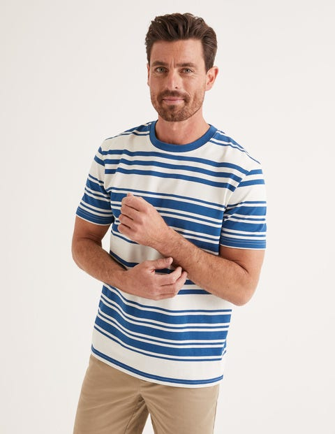 Retro Stripe T-Shirt - Mini Ecru/Sapphire Stripe
