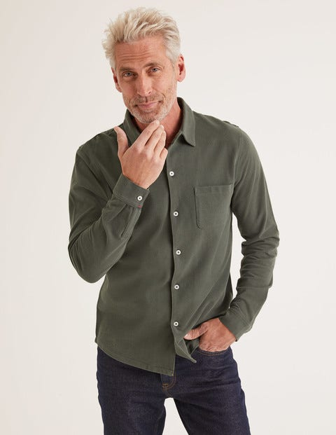 Long Sleeve Piqué Shirt - Richmond Green