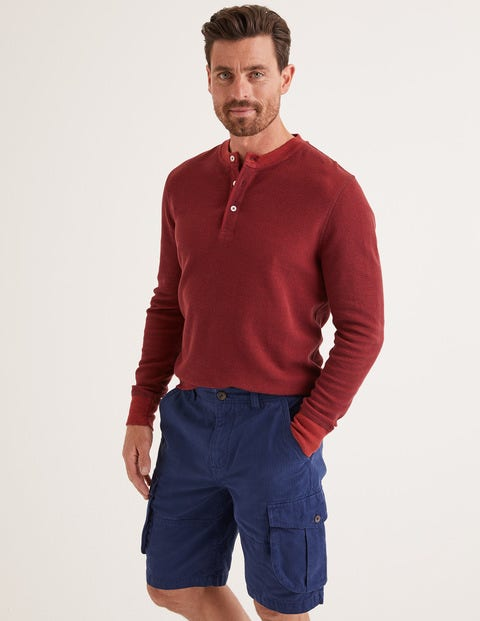 Long Sleeve Waffle Henley - Mulberry/Autumn Red